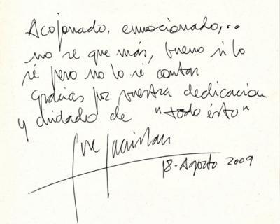 Dedicatoria de José Sacritán en el libro de visitas del Museo Casa Natal FGL